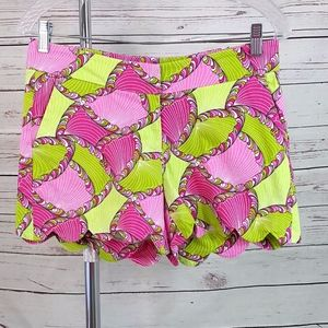 Crown & Ivy pink green shell geo scallop shorts